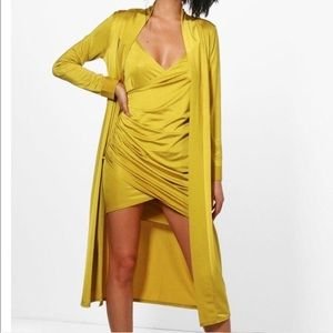 Boohoo Mustard Duster Co-ord Size 10